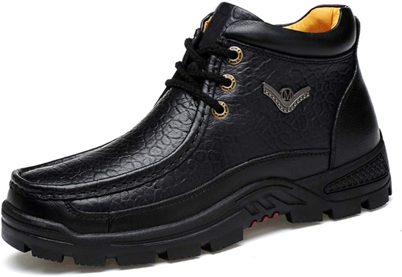 Höga skor Män's läder 2019 Nya Män's Business Business Business Casual skor Cold Padted Plus sammet Warm Cotton skor (färg  svart, Storlek  8 US)  ärlig service
