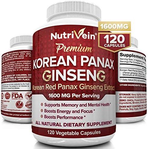 Nutrivein Pure Korean Red Panax Ginseng 1600mg 120 Vegan Capsules High Strength 5 Ginsenosides product image