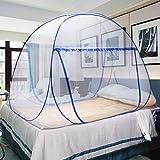 Mosquiteras desplegables para camas dobles, cremalleras de doble puerta mosquiteras portátiles para carpas instalación rápida y fácil sin productos químicos sin ganchos