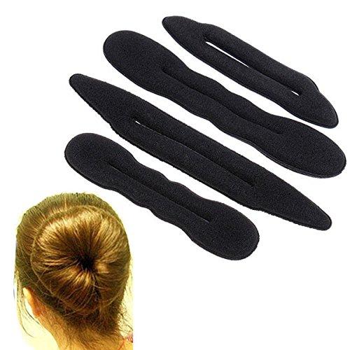 CareforYou® Haar-Stylingband, für Dutts und Haarknoten, Styling-Klammer aus Schaumstoff, 4 Stück