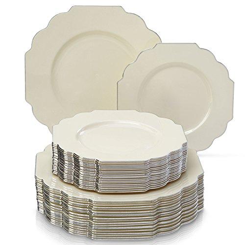 VAJILLA PARA FIESTAS DESECHABLE DE 40 PIEZAS   20 platos grandes   20 platos para ensalada/postre   Platos de plástico resistente   Para bodas y comidas de lujo (Baroque Collection – Marfil)