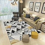 Alfombra moderna para el hogar, sala de estar, dormitorio, gran área, suave, antideslizante, fácil de limpiar, negro, marrón, gris, dibujado a mano, 200 x 300 cm