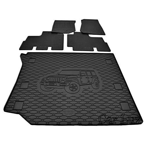 Car Lux AR01258 - Tappetini in gomma su misura e tappetino bagagliaio kit per Jeep Wrangler JK dal 2006-