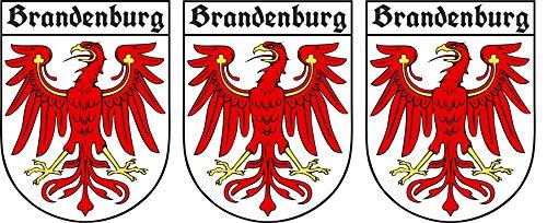 Etaia - 3,8x5 cm - 3 x Mini Premium Auto Aufkleber Brandenburg mit altdeutscher Schrift Sticker...