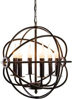 Ganeed Pendant Light,Industrial Globe Pendant Lighting,Vintage Chandelier Spherical Hanging Light,Ceiling Light Fixture for Kitchen Island Dining