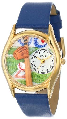 Skurril Uhren Baseball Royal Blau Leder und goldfarbenes Unisex Quarzuhr mit weißem Zifferblatt Analog-Anzeige und-Lederband c-0820004
