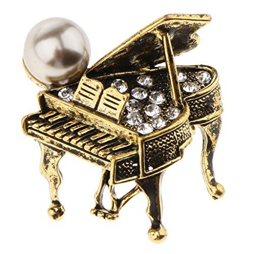 P Prettyia 1 Stück Klavier förmig Brosche Musikinstrument Broschen Anstecknadel für Kostümparty Unisex Broschen - Antikes Messing