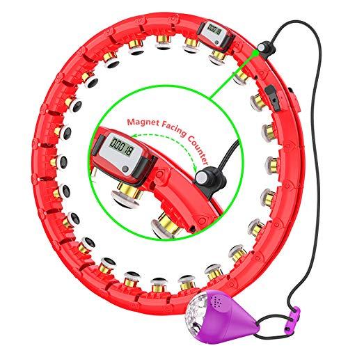CYSJX 24 Segmente Intelligent Hula Hoop Auto-Spinning Hoop, Nicht Fällt Einstellbar Fitnessreifen Mit Massagenoppe Für Kinder Erwachsene Anfängermit Gymnastikreifen Zum Abnehmen, Fitness