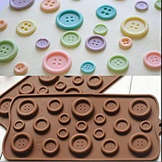 Amos Button Shaped Chocolate Fondant Silicone Molds/Mould for Cake Decor Tool 19 Cavity Big n Small Buttons Pack of 1