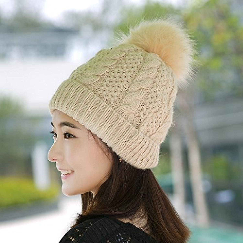 NWEC Winter ladies fashion knitted caps wool like wool warmth wool cap
