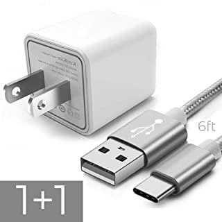 Long USB C Cable, 6FT Nylon Braided Type C Cord with Safety Assured USB AC Power Cube Adapter for Galaxy S10 S9 S8 Plus S10e, Note 8 9 10, LG G7 G6 G5 V30 V20 Moto G6 Z Z2 Pixel 2 XL