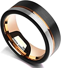 King Will Loop Tungsten Carbide Wedding Band 6mm/8mm Rose Gold Line Ring Black and Silver..