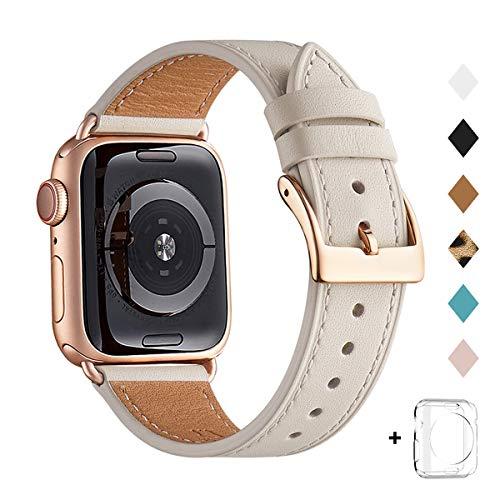 QAZNZ Correas de cuero para Apple Watch 40 mm 38 mm 44 mm 42 mm, Hombres Mujeres Reemplazo de correa para iWatch Series 6 5 4 3 2 1 & SE (38mm 40mm, Blanco marfil /Oro rosa)