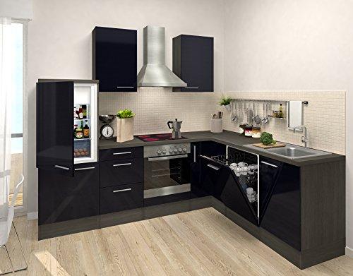 respekta Premium L Cocina Cocina pequeña Cocina amueblada y Equipada Roble Negro Bloque DE VACÍO