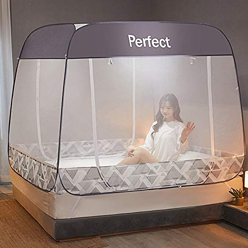 Pop-Up Mosquito Net Tent Canopy for Beds, Crib Netting, Self-Standing Tent for Camping, w/Fully Enclosed Net Bottom, Anti Mosquito Bites, Folding Portable Design for Baby Adults Trip (Grey & Queen)