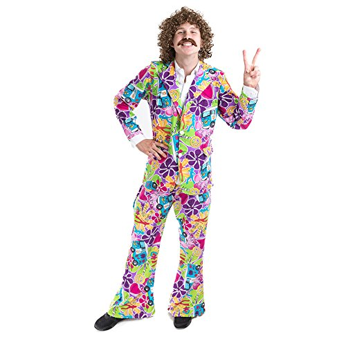 Charm Rainbow Hippie kostuum heren chique jaren 70 man hippy kostuum set met auto en bloemen incl. bovendeel en broek, complete carnaval set 3 maten, large