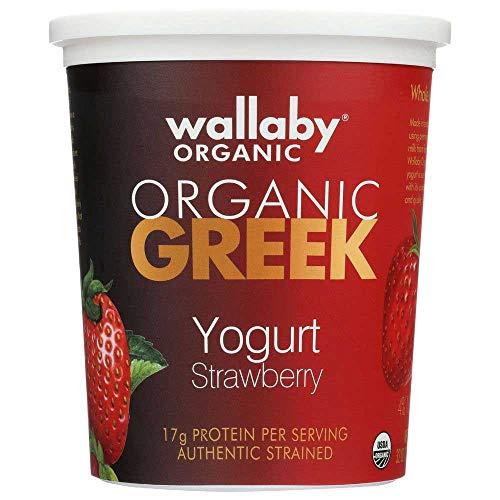 Wallaby Organic Strawberry Whole Milk Aussie Greek Yogurt, 32 Ounce -- 6 per case.