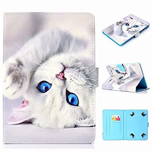 Funda universal para tablet de 10 pulgadas, con soporte universal para Tab de 10', gato blanco