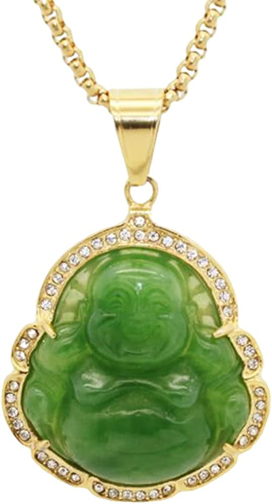 Stainless Steel Good Luck Laughing Buddha Created Imitation Jade Pendant Necklace