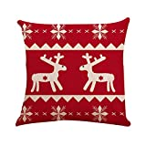 SSUPLYMY Weihnachten Kissenbezug, Square Cotton Linen Toss Pillowcase Hidden Zipper Closure Premium...