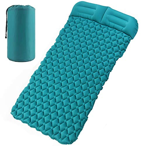Esup Double Sleeping Pad with Pillow and Multi Use Pump Sack Self-Inflating Camping Pads for Hiking, Fishing, Backpacking and Outdoor Adventures (Double)