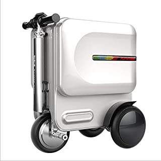 20 Inch Smart Riding Suitcase, 29.L Large Capacity 8 Inflatable Wheel with Electronic Brake/USB Charging Interface/Bluetooth Audio Function Electric Suitcase,White