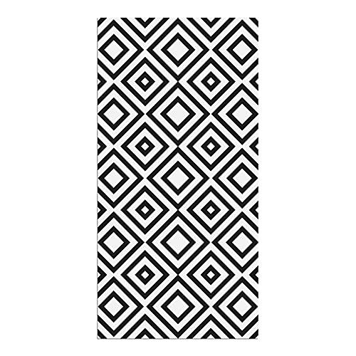 Alfombra Vinílica, Cuadriláteros, 100 x 50 x 0.2 cm, Color Negro y Blanco, ALV-029