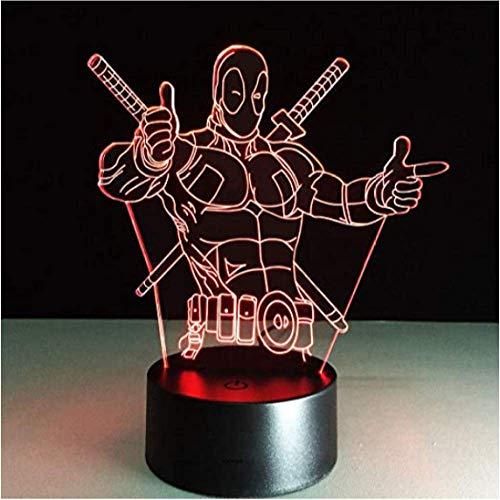 Deadpool Luz de la Noche 3D Lámpara de Mesa Ilusión Óptica Mesita de Noche Lampy Decoración LED Bulbing Sensor de Movimiento Luz Interruptor Táctil