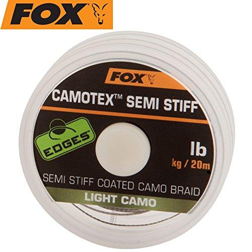 Fox Camotex light Semi Stiff 20m 35lbs 15,8kg - Vorfachmaterial zum Karpfenangeln, Karpfenschnur, Vorfachschnur für Karpfenvorfach