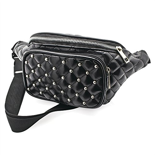 Black Faux Leather Padded Studded Bum Bag / Fanny Pack - Festivals /Club Wear/ Holiday Wear (Ropa)