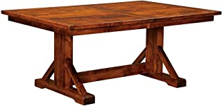 New Hickory Wholesale Amish Chesapeake Solid Wood Trestle Dining Table, Michael's Cherry (42