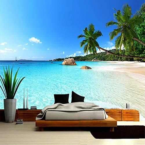 Papel Tapiz Fotográfico 3D Seascape Beach Palm Revestimiento De Paredes Mural Rollo Para Sala De Estar Dormitorio Papel Tapiz De Fondo Fondo De Arte De Pared Wallpaper 350X256Cm