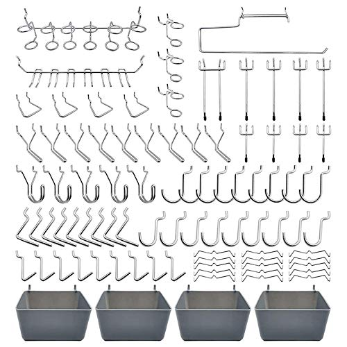 Tashido 120 ganchos para paneles perforados con 16 tipos diferentes de ganchos para paneles perforados, incluye cubos de plástico, contenedores para paneles perforados, organizador de garajes