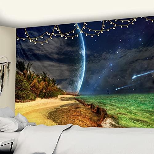 PPOU Tapiz de habitación con Vistas al mar, Tapiz de Playa con árbol de Coco para Colgar en la Pared, Tapiz Bohemio para decoración del hogar, A5 130x150cm