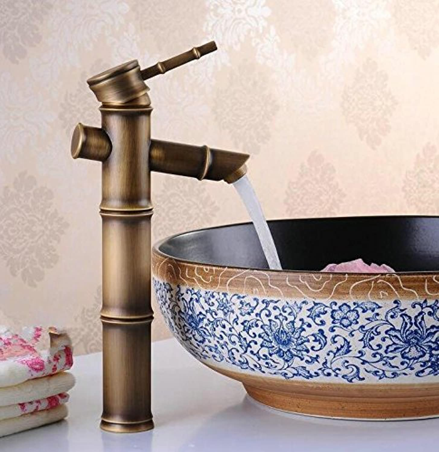 Retro Deluxe FaucetingFree Shipping Bathroom Bamboo Faucet Brass Basin Sink Faucet Tolet Deck Mounted Single Handle Mixer Tap Crane,Brass,Antique 12 Inch