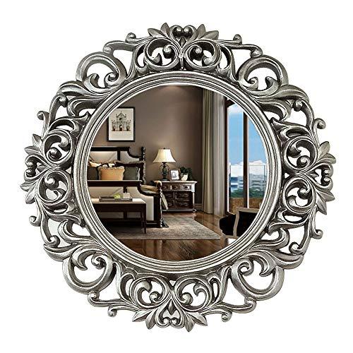 "Bathroom mirror WYZQQ Round Vintage Decortative Wall Mirror, Resin Carved Frame, Decor Mirror for Bedroom,Bathroom, Living Room,Dressers 18.5""x 18.5"""
