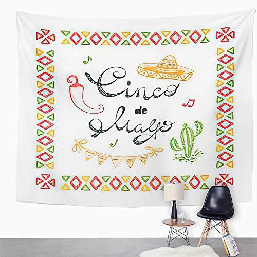 Y·JIANG Mexico Tapestry, Mexican Holiday Cinco De Mayo Sombrero Cactus Maracas Pimienta Chili Home Dormitorio Tapiz Decorativo Grande Pared Ancho Manta Colgante para Salón Dormitorio 203 x 152 cm