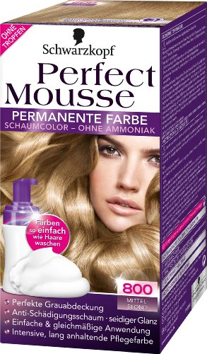 Schwarzkopf Perfect Mousse permanente Farbe Stufe 3, 800 Mittelblond