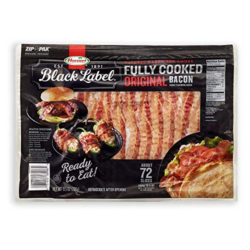 Hormel Black Label Fully Cooked Bacon (72 Slices) - PACK OF 4