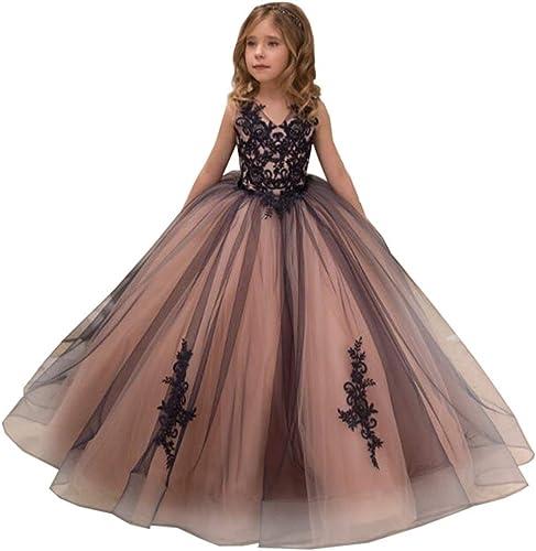 Jxth Robes de Demoiselle d'honneur Robe de soirée de Mariage brodée pour Fille pour la soirée Officielle de la Robe de Bal (Taille   110cm)