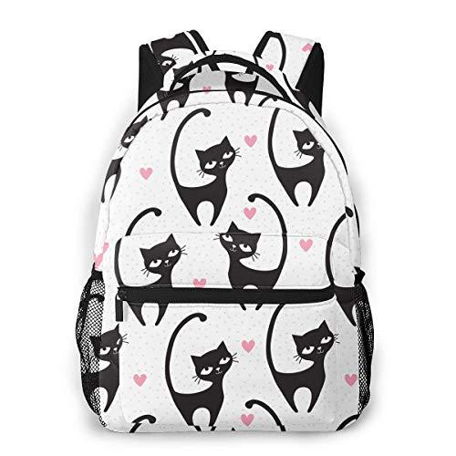 Mochila para niños con forma de corazón y gato, para niñas de 16 pulgadas, mochila de hombro casual para 1-5 grados