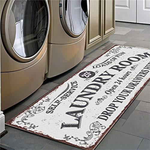 SHMR rutschfeste Bodenmatte Waschküche Matte Eingang Fußmatte Selbstbedienung Wäscherei Badematte Teppich Waschküche Dekor Balkon Teppich Teppich, 4,60x180cm