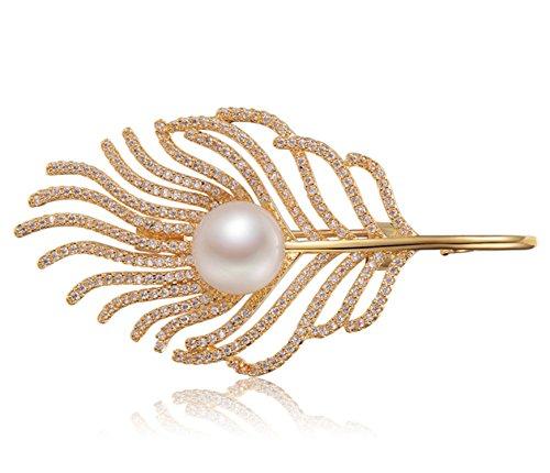 Epinki Dorado Broche de Mujer Pluma Broche de Perlas Broches Alfileres Novia Oro(10-11mm) con Perla