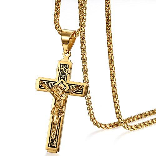 Cupimatch Catholic Jesus Christ on INRI Cross Crucifix Prayer Stainless Steel Pendant Necklace 22 Inch Chain,Gold
