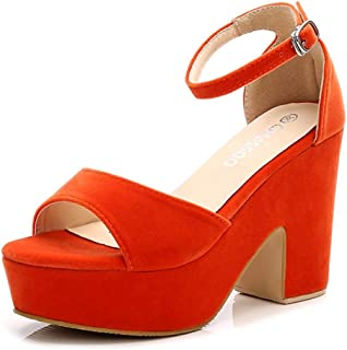 Women's Open Toe Ankle Strap Block Heeled Wedge Platform Sandals