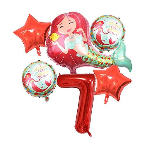XIAOZSM Globos Globos de lámina de sirpea púrpura roja con número de dígitos de 40 Pulgadas Helio Globo Dibujos Animados Globos Decoraciones de Fiesta de cumpleaños niños o Adultos ( Farbe : Red 7 )