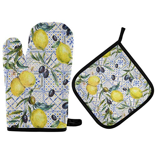 Lemon Pattern Summer Oven Mitts and Pot Holders Set Olive Watercolor Sicilian Hot Pads&Gloves 2pcs Potholders Cotton Infill Heat ResistantNon-Slip Pads for Kitchen Cooking BBQ Grilling Baking Bakew