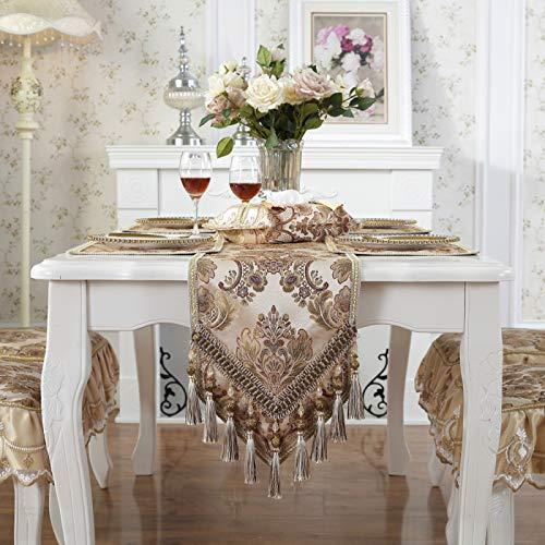 QXbecky Runner da tavolo Beige blu colore caffè modello retrò tavolo da pranzo di lusso di alta precisione tavolino scarpiera tovaglia mobile TV32x226 cm