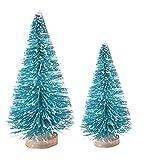 JujubeZAO Figur, 2 Stück künstliche Tannenbaum-Figuren, Mini-Figuren, zum Selbermachen, Schnee,...