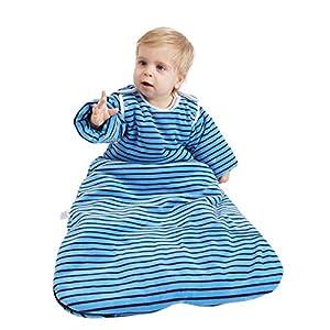 Saco de dormir para bebé de invierno cálido a rayas saco de dormir de manga larga extraíble para recién nacidos y bebés…